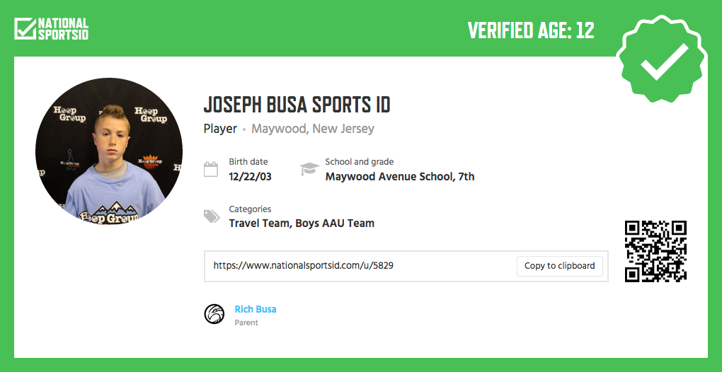 Verified National Sports ID