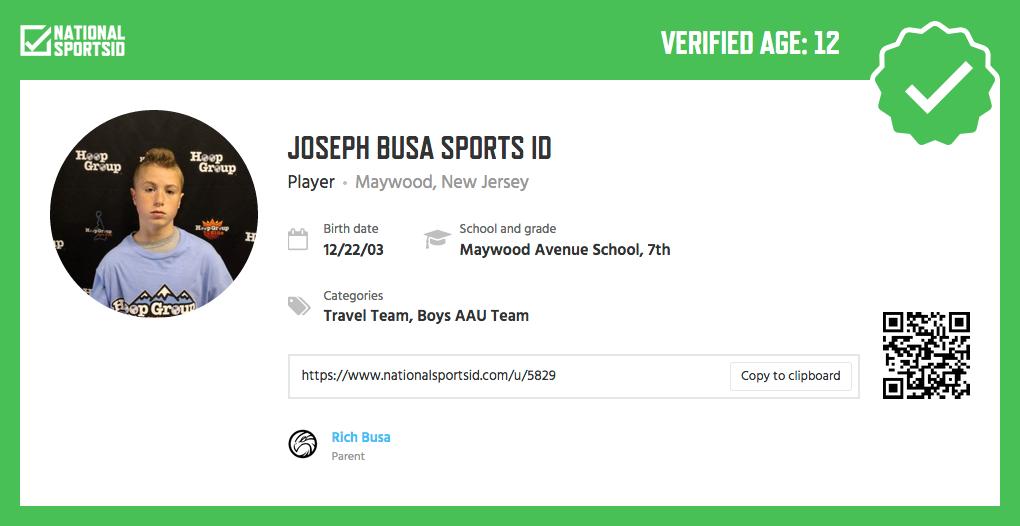 Verified National Sports ID
