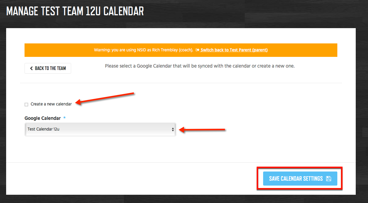 Choose Google Calendar