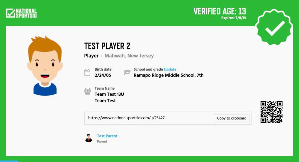 Verified Sports ID