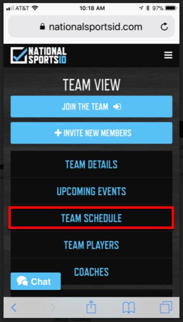 3 - Click Team Schedule Subscribe Calendar
