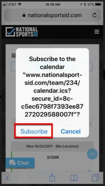 5 - Click Subscribe Button to Subscribe Calendar