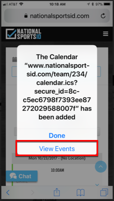 5 - Click View Events to Subscribe to Calendar